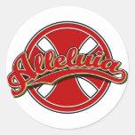 Alleluiah cross in red round sticker