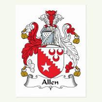 Allen Family Crest Postcard