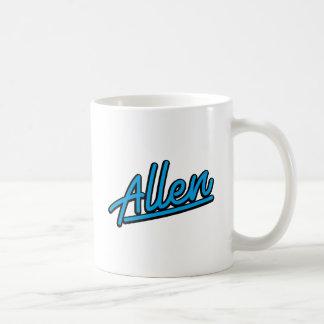 Allen in cyan coffee mug