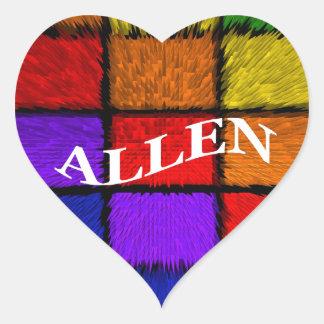 ALLEN (male names) Heart Sticker