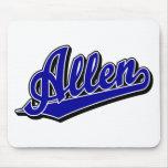Allen script logo in Blue Mouse Mats