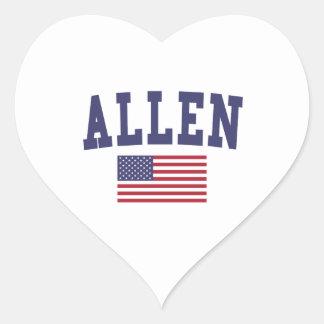 Allen US Flag Heart Sticker