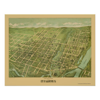 Allentown, mapa panorámico del PA - 1879 Póster