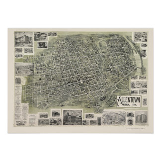 Allentown, mapa panorámico del PA - 1901 Póster