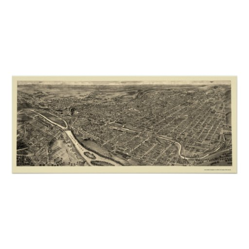 Allentown, PA Panoramic Map - 1922 Poster