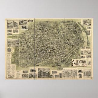 Allentown Pennsylvania 1901 Antique Panoramic Map Poster