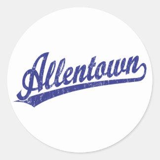 Allentown script logo in blue classic round sticker