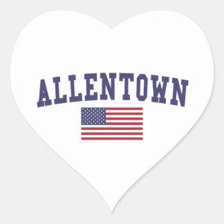 Allentown US Flag Heart Sticker