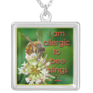Allergic to bee stings - great for kids at camp square pendant necklace