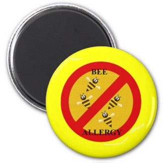 Allergic to bees 2 inch round magnet