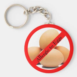 Allergic to Eggs Round Keychain