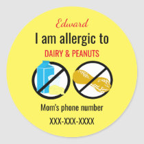 Allergic to Peanuts and Dairy Kids Personalized Classic Round Sticker