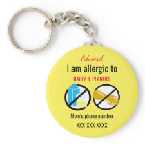 Allergic to Peanuts and Dairy Kids Personalized Keychain
