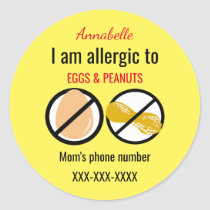 Allergic to Peanuts and Eggs Kids Personalized Classic Round Sticker