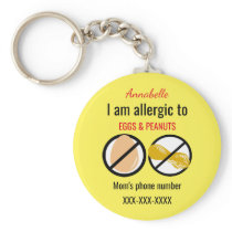 Allergic to Peanuts and Eggs Kids Personalized Keychain