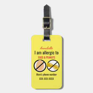 Allergic to Peanuts and Eggs Kids Personalized Luggage Tag