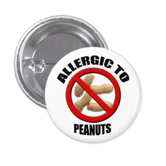 Allergic to Peanuts Medical Alert Sml Button