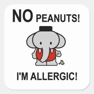 Allergic to Peanuts Square Sticker