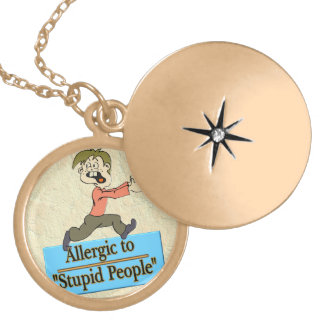 ALLERGIC TO STUPID PEOPLE LOCKET NECKLACE