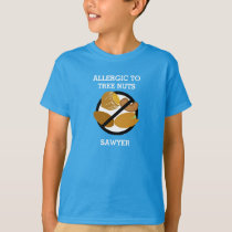 Allergic to Tree Nuts Personalized Kids No Nuts T-Shirt