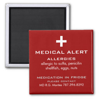 Allergies Medical Alert Magnet
