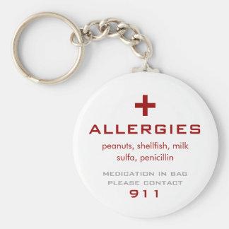 Allergies Medical Basic Round Button Keychain