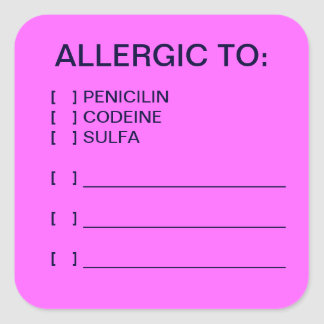 Allergies Medical Chart Labels Square Sticker