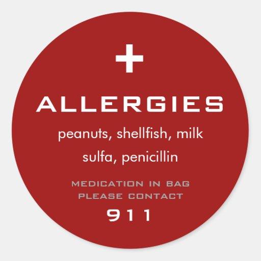 Allergies Sticker Round Sticker