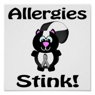 Allergies Stink Skunk Awareness Design Poster