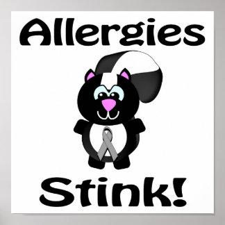 Allergies Stink Skunk Awareness Design Poster