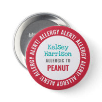 Allergy Alert Customized Kids School Button