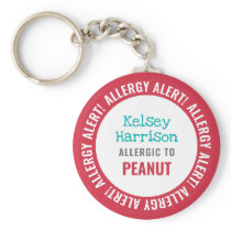 Allergy Alert Customized Kids School Keychain