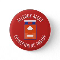Allergy Alert Epinephrine Inside Medical Kids Pinback Button
