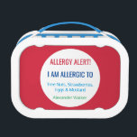 """Allergy Alert Kids Personalized Red Allergic To Lunch Box<br><div class=""""desc"""">Allergy Alert Kids Personalized Red Allergic To Lunch Box. Store safe snacks or allergen free lunches in this doubled sided lunch box for kids. Personalize all information with brightly colored font. Text reads: ALLERGY ALERT! I AM ALLERGIC TO&quot; Edit to add your allergens and name. Bright red background with white...</div>"""