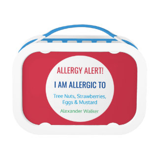 Allergy Alert Kids Personalized Red Allergic To Lunch Box at Zazzle
