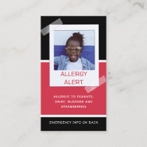 Allergy Alert Kids Photo Medical Emergency Daycare Calling Card