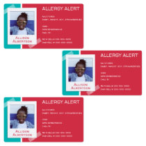 Allergy Alert Kids Photo Medical Emergency Daycare Labels