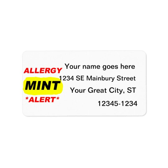 Allergy Alert Mint Allergy Design, Mint allergic Label
