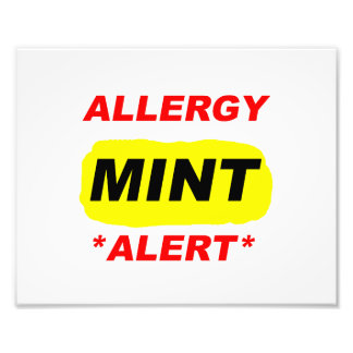 Allergy Alert Mint Allergy Design Mint allergic Photographic Print