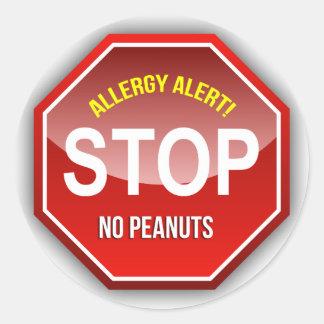 Allergy Alert : No Peanuts Please! Round Stickers