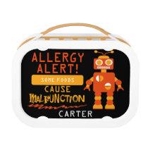 Allergy Alert Orange Robot Lunchbox