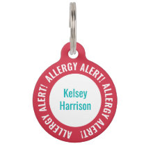 Allergy Alert Personalized Kids School Daycare Pet ID Tag