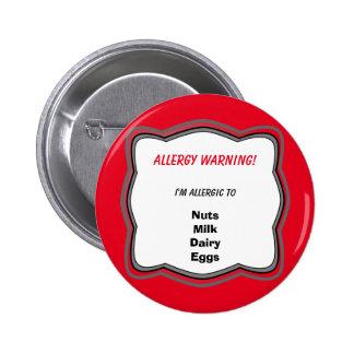 Allergy Alert Pin Button Badge