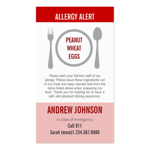 Allergy Alert Red Duotones Business Card Template