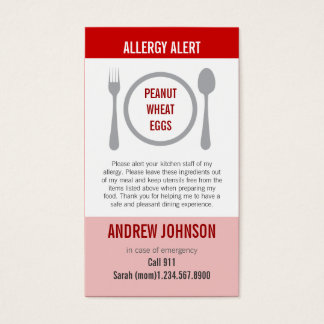 Allergy Alert Red Duotones Business Card