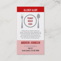 Allergy Alert Red Duotones Calling Card