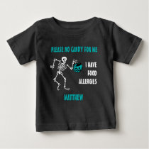 Allergy Alert Skeleton Halloween Do Not Feed Teal Baby T-Shirt