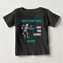 Allergy Alert Skeleton Halloween Do Not Feed Teal Baby T-Shirt
