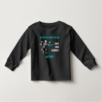 Allergy Alert Skeleton Halloween Do Not Feed Teal Toddler T-shirt