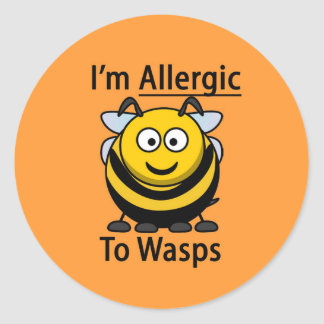 Allergy Alert sticker, wasps Classic Round Sticker